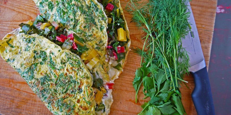 Wk 37 kruidenomelet met snijbiet en gebakken aardappeltjes kopie kopie