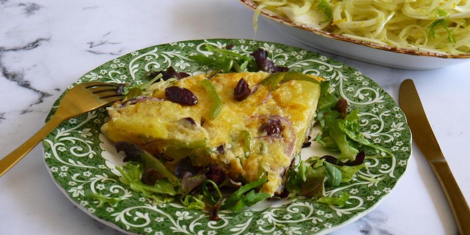 Wk 38 tortilla olijf paprika alde fryske venkel sinaasappel salade