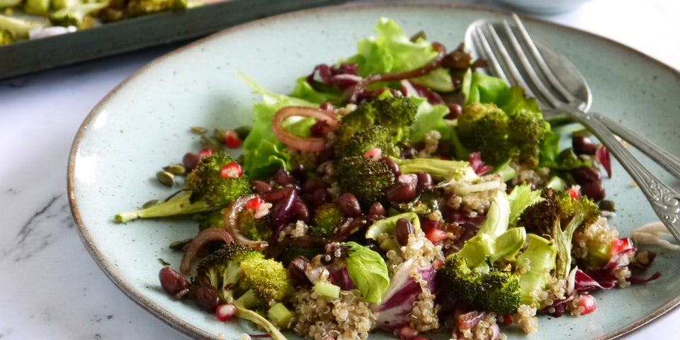 Wk 39 quinoa granaatappel burnt broccoli radicchio