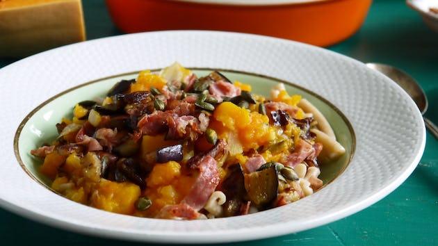 Wk 39 speltpasta pompoen rauwe ham aubergine radicchio FP