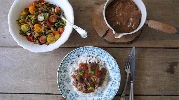 Wk 40 kant en klare Boeuf bourgignon met rijst en roerbak