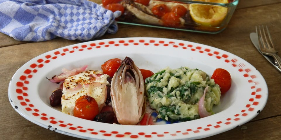 Wk 41 saganaki olijven feta tomaat stampje NZ spinazie fp