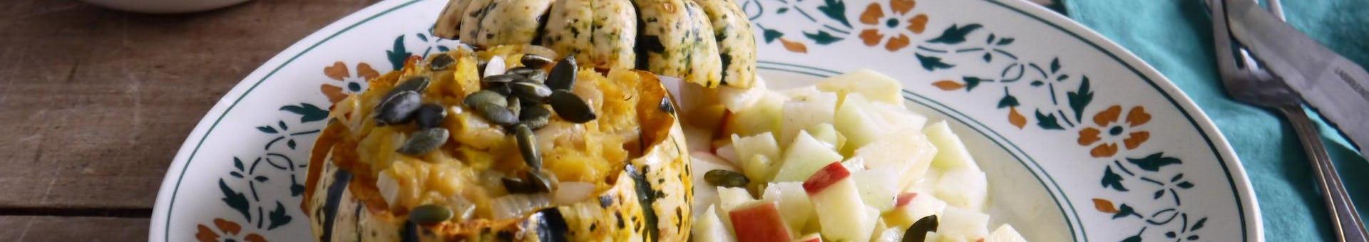 Wk 42 gevulde sweet dumpling blauwe kaas appel koolrabi salade FP