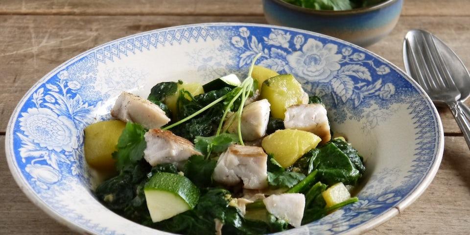 Wk 43 groene curry koolvis spinazie kokosmelk FP