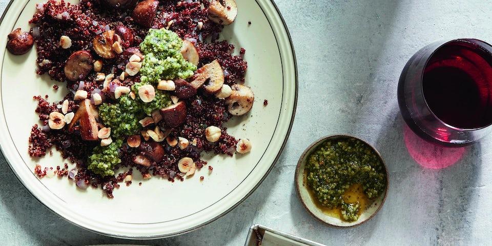 Wk 44 Rode quinoa met hazelnootpesto en pastinaakfrietjes 2