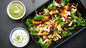 Wk 44 geroosterde groenten pesto bonendip
