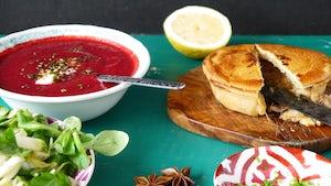 Wk 45 pulled pork pie rode bieten steranijs soep en sla