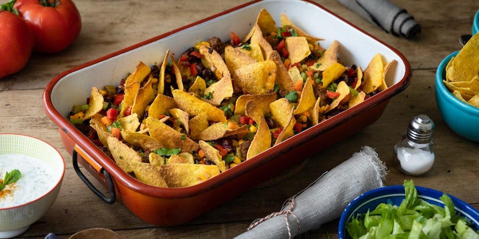 Wk 11 Chili con carne van Waterlants Weelde met rijst veldsla en nacho chips 1
