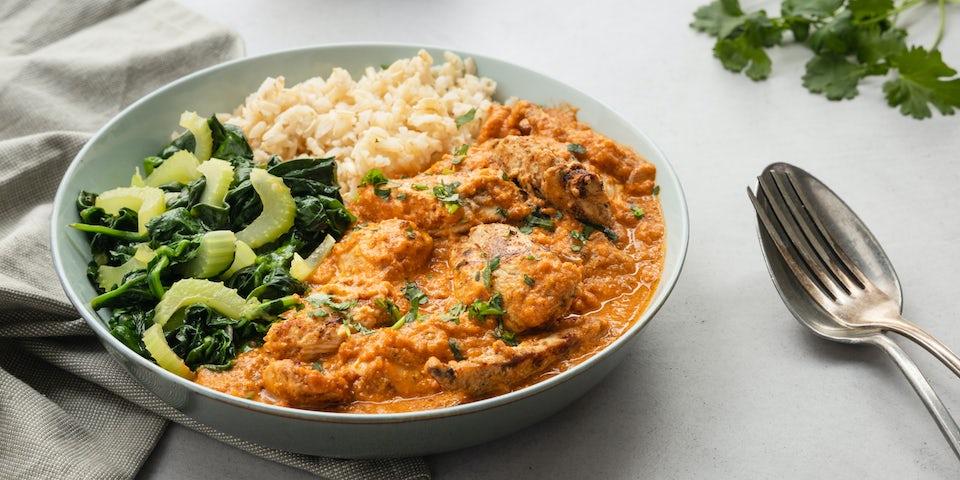 Wk 15 Indiase butter chicken met volkoren basmatirijst en gewokte spinazie 2