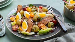 Maaltijdsalade met spek van tempeh   Recepten uit de maaltijdbox