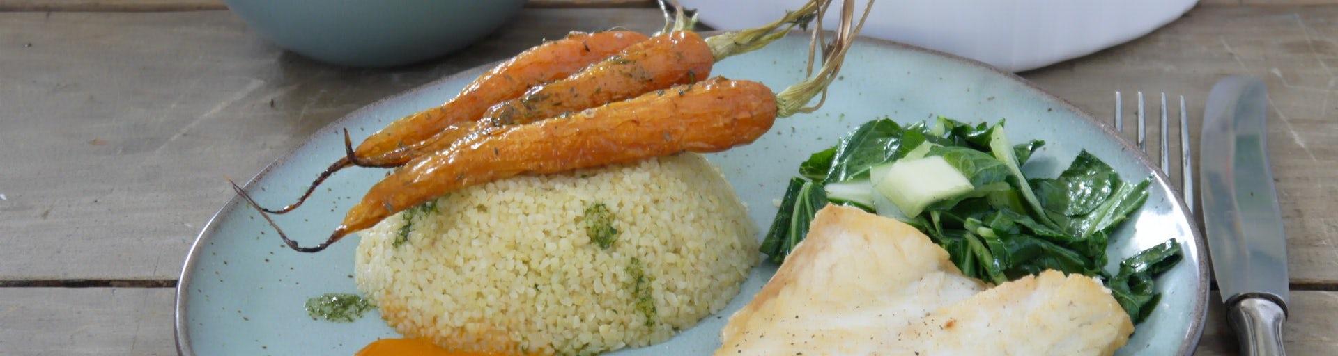 Maaltijdbox recept dorade met peen paksoi worteljus bulgur en dragonolie