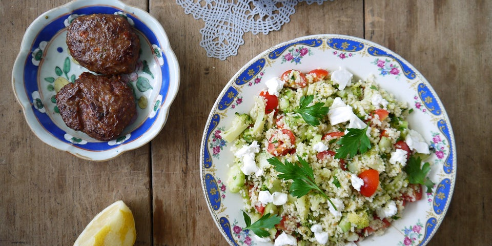 Wk 28 lamsburger met couscous broccoli geitenkaas tomaat rozemarijn