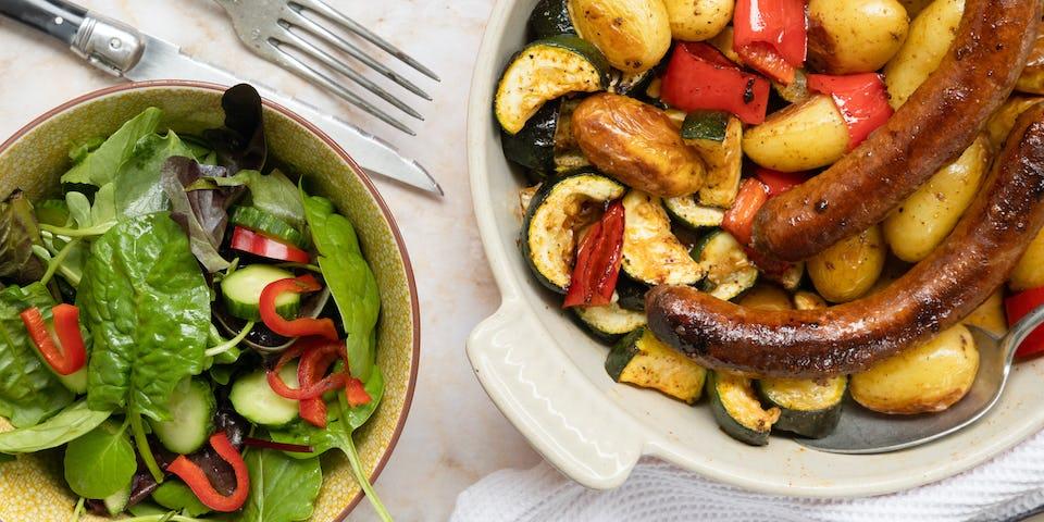 Merguezworstjes, krieltjes en ovengroenten | Recept uit de snelle maaltijdbox