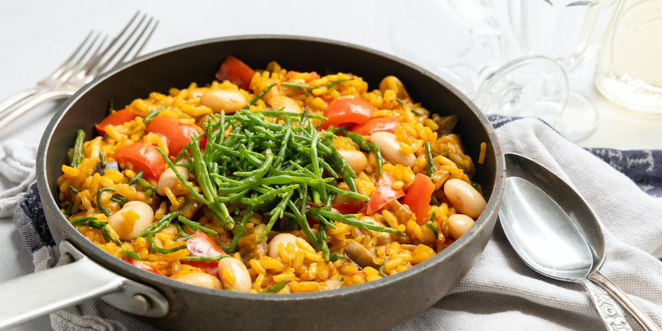 Vegan paella met zeekraal recept | Maaltijdbox recepten