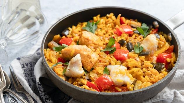 Paella met aubergine paprika en venkel | Maaltijdboxen recepten