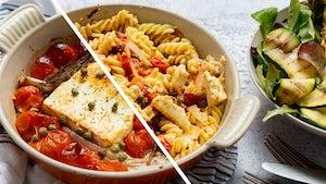 Tiktokpasta met cherrytomaat feta en salade | Maaltijdboxen recepten