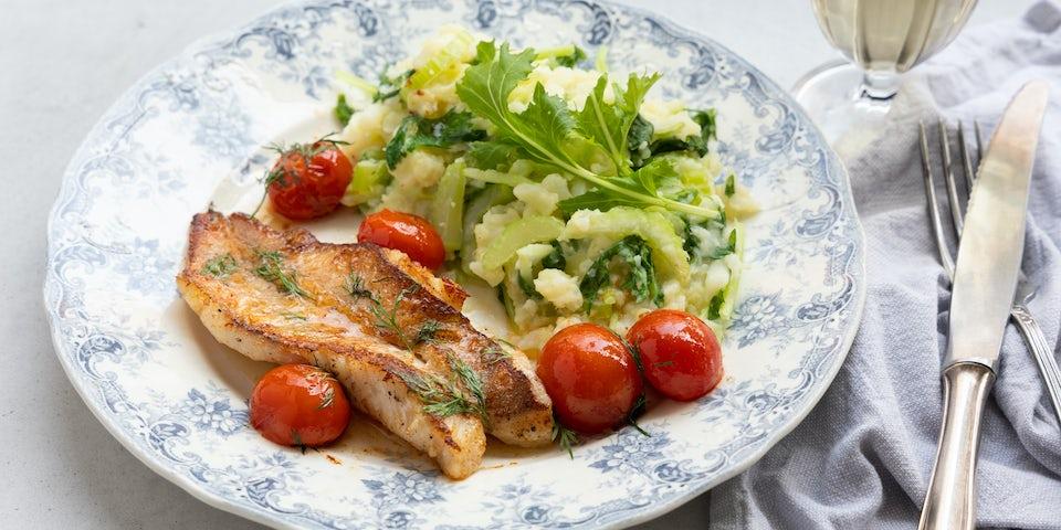 Broccoli waterkers stamppot met scholfilet en cherrytomaat | Maaltijdbox recepten