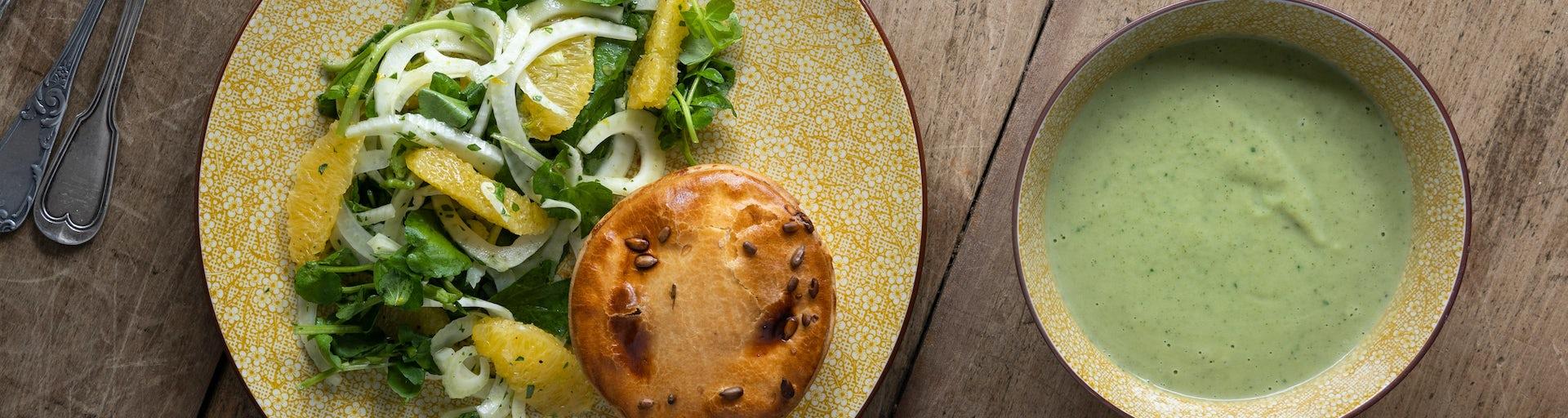 Pulled chickenpie met broccolisoep | Maaltijdbox recepten