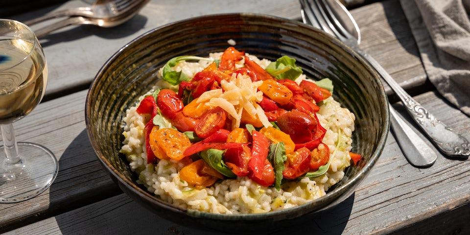 Risotto met prei cherrytomaat en paprika | Maaltijdbox recepten