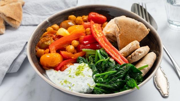 Spinazie-kikkererwtenstoof met pita | maaltijdbox recepten