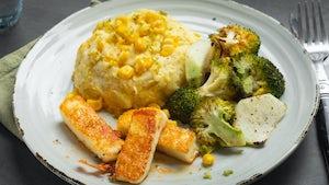 exotische halloemi met aardappel maispuree en groenten   maaltijdbox recepten