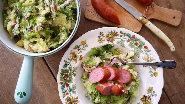 andijvie roodlofstampot met kiprookworst en rozemarijnvinaigrette   maaltijdbox recepten