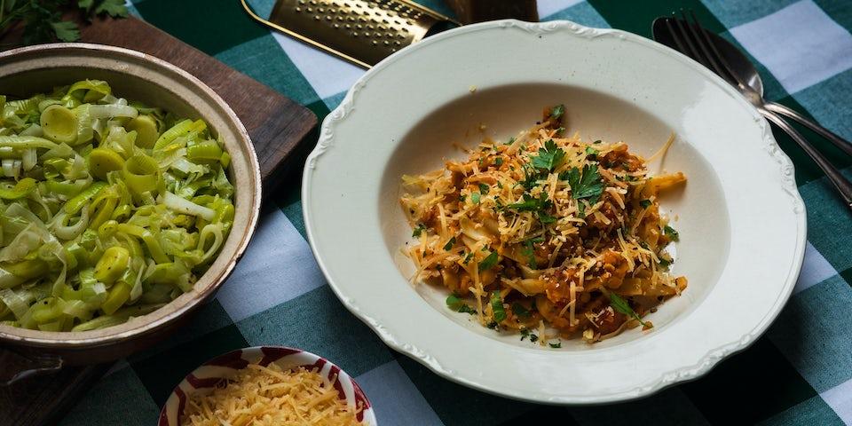 Wk 4 tagliatelle con lenticchie met gesmoorde prei