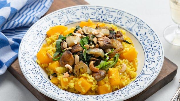 Pompoencurryrisotto met champignon en paksoi | maaltijdbox recepten