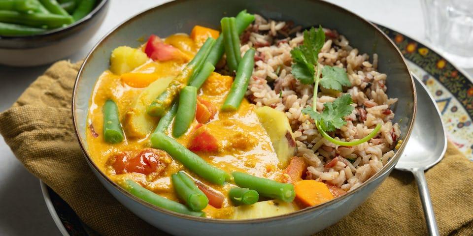 Cashewnoten korma met sperziebonen sweet dumpling en rijst | Maaltijdbox recepten
