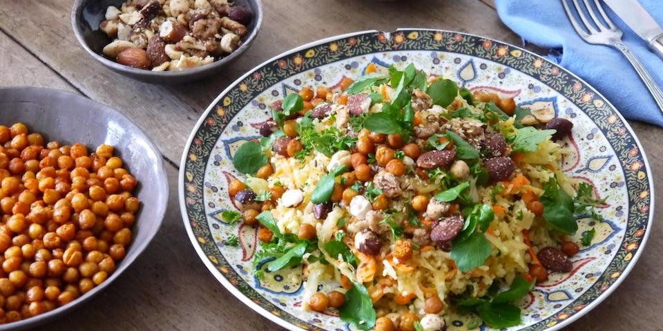 Wk 44 tabouleh met veel groenten noten en dukha FP